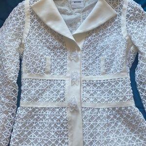 Moschino white crochet blazer